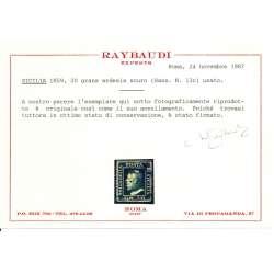 1859 SICILIA 20 gr. ARDESIA SCURO n.13c CERT. RAYBAUDI US. Sicilia francobolli filatelia stamps