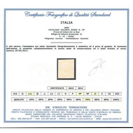 1864 PROVA DI COLORE DE LA RUE 15 c. GIALLO S.G. CERTIFICATO regno d' Italia francobolli filatelia stamps