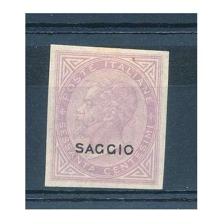 1863 PROVA DE LA RUE SOPRASTAMPATO SAGGIO 60 c. LILLA G.O. CERTIFICATO