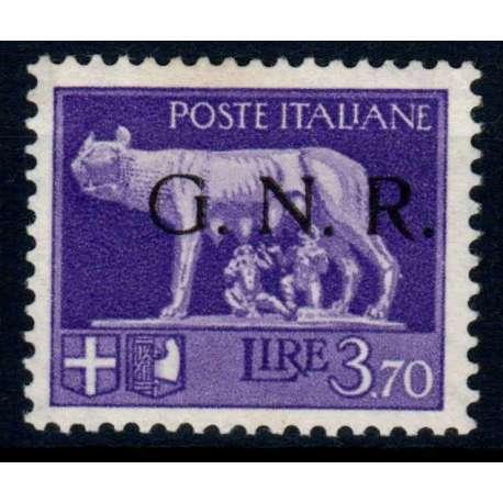 R.S.I. 1943 3,70 LIRE G.N.R. I TIPO BRESCIA N. 484/l FIRMA RAY G.I. MNH** CERT. R.S.I. e Luogotenenza francobolli filatelia ...