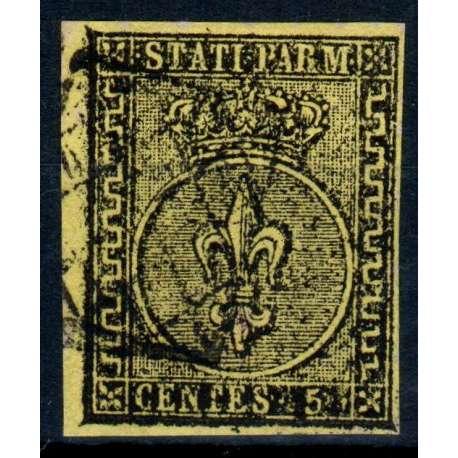 1852 PARMA 5 c. GIALLO ARANCIO n.1 US. Modena e Parma francobolli filatelia stamps