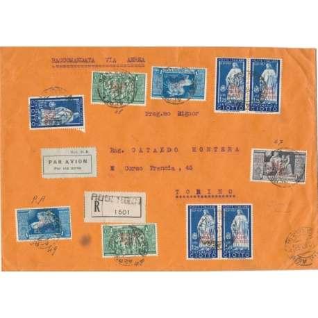 COLONIE:EGEO RARO E COREOGRAFICO DOCUMENTO POSTALE Colonie francobolli filatelia stamps