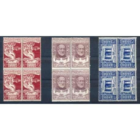 1922 MAZZINI IN BELLE QUARTINE CENTRATE G.I regno d' Italia francobolli filatelia stamps