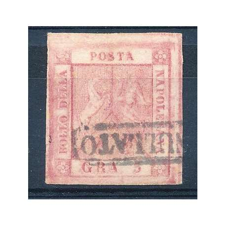 1859 N.9g 5 GR. CARMINIO ROSA II TAVOLA RARO SENZA FILIGR Napoli francobolli filatelia stamps