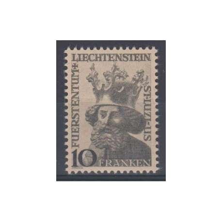 LIECHTENSTEIN 1946 EFFIGIE DEL PATRONO S.LUCIO G.I. LIEVE PIEGA AL VERSO Liechtenstein francobolli filatelia stamps