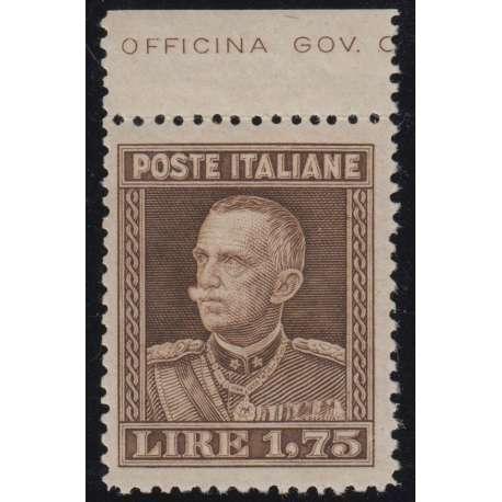 REGNO 1929 1,75 LIRE PARMEGGIANI DENT 13 3/4 BORDO FOGLIO G.I. MNH** CERTIFICATO regno d' Italia francobolli filatelia stamps