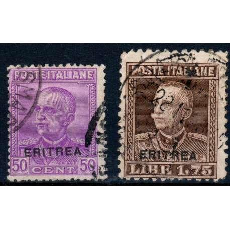 1928-29 ERITREA SOPRASTAMPATI 2 V. S.31 US. Colonie e Occupazioni francobolli filatelia stamps