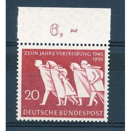 R.F.T 1955 DECENNALE DELL'ESODO DALL'EST G.I Germania francobolli filatelia stamps