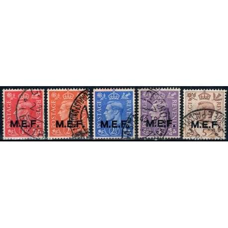 1942 OCC. STRANIERE M.E.F. SOPR. 5 V. US. Colonie e Occupazioni francobolli filatelia stamps
