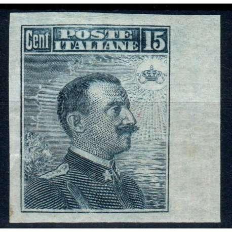REGNO D'ITALIA 1911 MICHETTI 15 CENTESIMI NON DETELLATO G.O MH* MANCANZA DI G. regno d' Italia francobolli filatelia stamps
