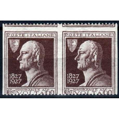 REGNO D'ITALIA 1927 VOLTA COPPIA 60 CENTESIMI MULTI VARIETA' N. 212da G.O MH* regno d' Italia francobolli filatelia stamps