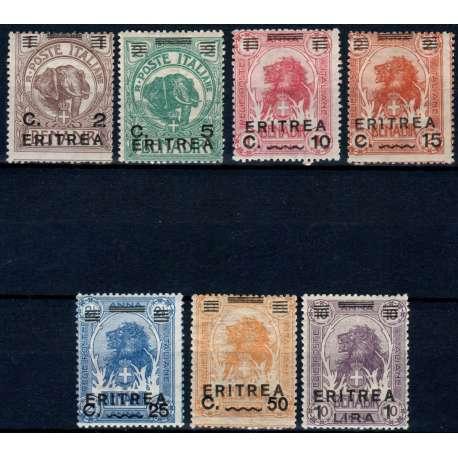 1922 ERITREA LEONI E ELEFANTI SOPR. 7 V. S.11 G.I. MNH** (ALCUNI CON PIEGHE) Colonie e Occupazioni francobolli filatelia stamps