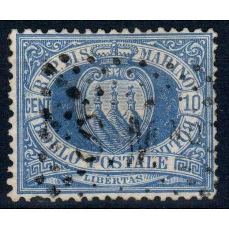 SAN MARINO 1877-90 CIFRA E STEMMA 30 CENTESIMI N.3A OLTREMARE CHIARO USATO San Marino francobolli filatelia stamps