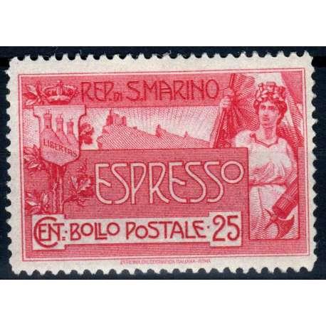SAN MARINO 1907 ESPRESSO ALLEGORIA E VEDUTA 25 CENT G.I MNH** CENTRATISSIMO CERT San Marino francobolli filatelia stamps