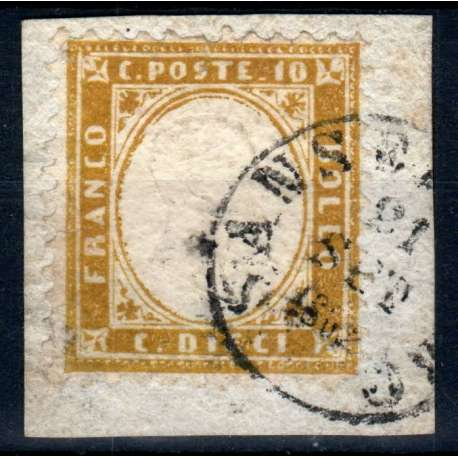 REGNO D'ITALIA 1862 VITTORIO EMANUELE II 10 CENTESIMI US. SU FRAMMENTO CENTRATO regno d' Italia francobolli filatelia stamps