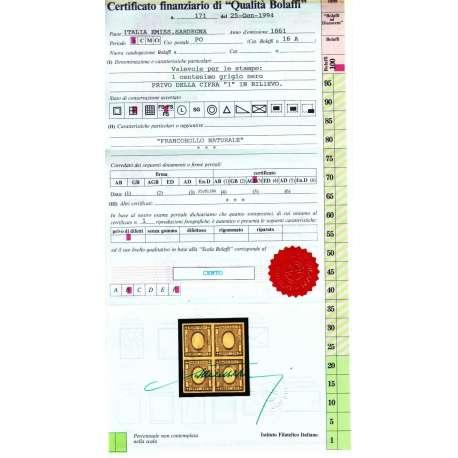 1861 SARDEGNA PER STAMPATI 1c. SENZA CIFRA AL CENTRO QUARTINA G.I. MNH** Sardegna francobolli filatelia stamps