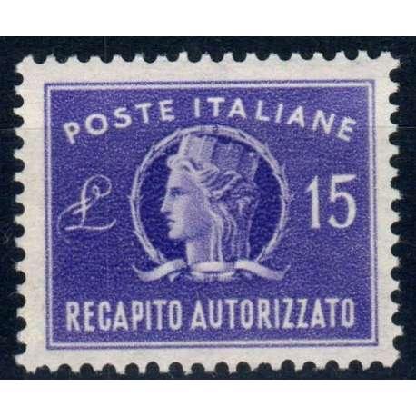 REPUBBLICA 1949-52 RECAPITI AUTORIZZATI 15 LIRE G.I MNH**BEN CENTRATO repubblica italiana francobolli filatelia stamps