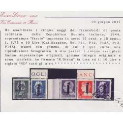 1944 R.S.I. SAGGI 5 V. SOP FASCIO N Nn.P11/P13-P12A-P14A BORDO CERT. G.I.MNH**