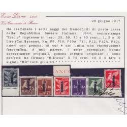 1944 R.S.I. SAGGI P.A. 7 V. FASCIO N Nn.P9/P13-P10A-P12A BORDO CERT. G.I.** R.S.I. e Luogotenenza francobolli filatelia stamps