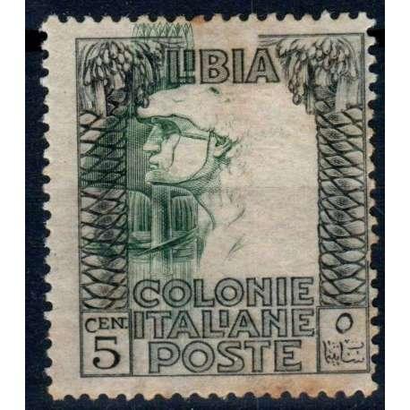 COLONIE 1921 LIBIA PITTORICA 5 CENT. CENTRO SPOSTATO G.O MLH* CON OSSIDO Colonie francobolli filatelia stamps