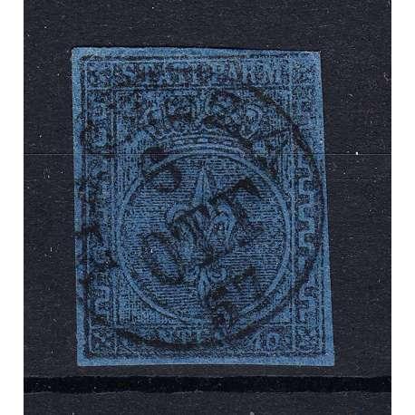 PARMA 1852 GIGLIO BORBONICO 40 CENTESIMI N.5b GRECA PIU' LARGA CERTIFICATO Modena e Parma francobolli filatelia stamps