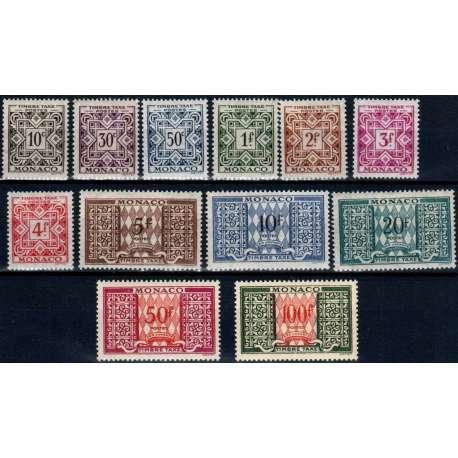 MONACO 1946-57 SEGNATASSE 12 VALORI G.I MNH** Monaco francobolli filatelia stamps