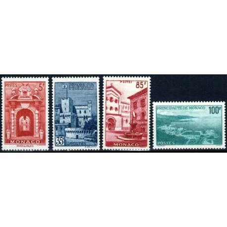 MONACO 1959 VEDUTE E RANIERI III 4 VALORI G.I MNH** Monaco francobolli filatelia stamps