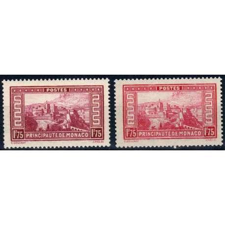 MONACO 1933 VEDUTE DIVERSE 2 VALORI DA 1,75 F. VINACEO E CARMINIO G.O MH* Monaco francobolli filatelia stamps