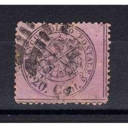 STATO PONTIFICIO 1868 STEMMA PONTIFICIO 20 CENTESIMI N.28c LILLA GRIGIO CERT. Stato Pontificio francobolli filatelia stamps