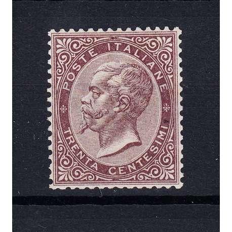 REGNO D'ITALIA 1863 30 CENTESIMI TIRATURA LONDRA DE LA RUE G.I MNH** CERTIFICATO regno d' Italia francobolli filatelia stamps