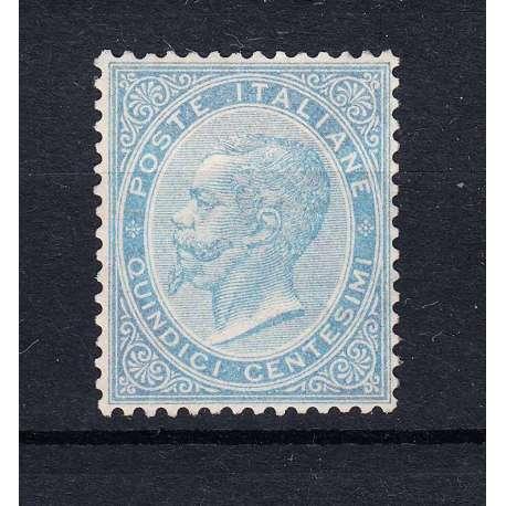 REGNO D'ITALIA 1863 15 CENTESIMI DE LA RUE G.O MLH* IMPERCETTIBILE T.L. CERT. regno d' Italia francobolli filatelia stamps