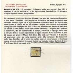 STATO PONTIFICIO 1858 20 baj. GIALLO n.11A NON EMESSO 3 CERT. GRANDE RARITA' Stato Pontificio francobolli filatelia stamps