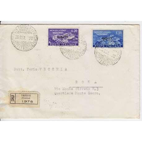 """1951 TRIESTE """"A"""" RICOSTRUZIONE ABBAZIA MONTECASSINO 2 V. S.19 SU BUSTA VIAGGIATA Trieste Zona """"A"""" francobolli filatelia stamps"""