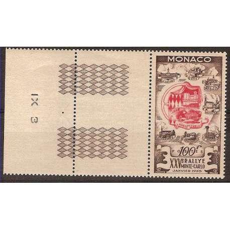 MONACO 1955 25° RALLY DI MONTE CARLO BORDO DI FOGLIO G.I. Monaco francobolli filatelia stamps