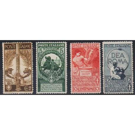 1911 CINQUANTENARIO UNITA' D' ITALIA OTTIMA CENTRATURA FRESCHISSIMI G.I. (MNH) regno d' Italia francobolli filatelia stamps
