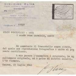 STATO PONTIFICIO 1852 1 SCUDO ROSA CARMINIO USATO CERTIFICATO Stato Pontificio francobolli filatelia stamps