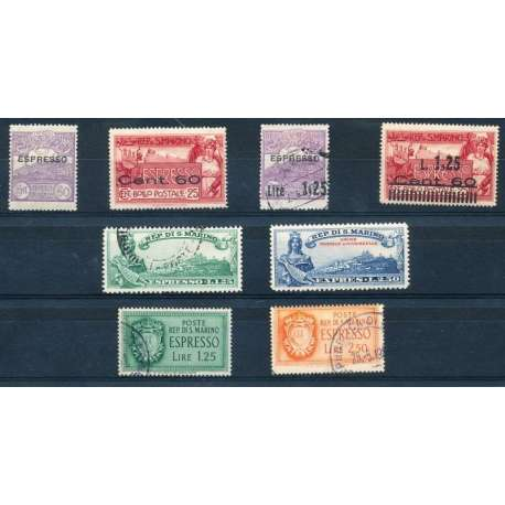 1923-43 ESPRESSI VARI QUALITA' MISTA G.O./US. (MH/US.) San Marino francobolli filatelia stamps