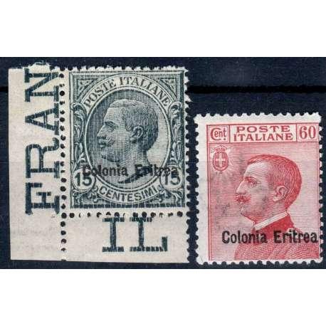 COLONIE ERITREA 1918-20 MICHETTI SOPRASTAMPATI 2 V. G.I MNH** Colonie francobolli filatelia stamps