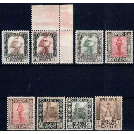 COLONIE LIBIA 1926-30 PITTORICA 8 VAL. DENT.11 G.I MNH** CERT. BEN CENTRATI Colonie francobolli filatelia stamps