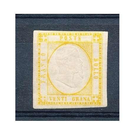 1858 PR. NAPOLETANE 10 gr. GIALLO ARANCIO (23a) CERTIFICATO G.O. (MH) Napoli francobolli filatelia stamps
