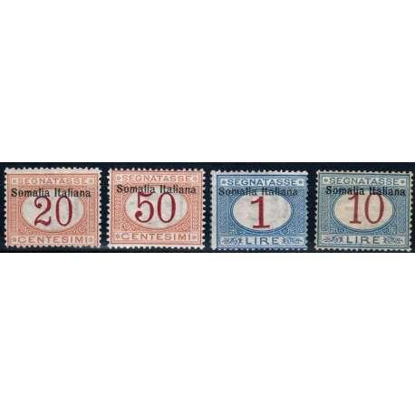 COLONIE SOMALIA 1909 SEGNATASSE SOPR. SOMALIA ITALIANA 4 VALORI G.I MNH** Colonie francobolli filatelia stamps
