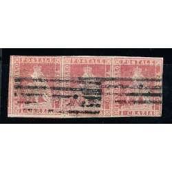 1851 TOSCANA 1 CR. (4) STRISCIA DI 3 PERFETTA BUONI MARGINI CERTIFICATO US. Toscana francobolli filatelia stamps