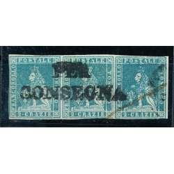 1851 TOSCANA 2 CR. (5) STRISCIA DI 3 ANNULLO DI PREGIO LEGGERE CERTIFICATO US. Toscana francobolli filatelia stamps