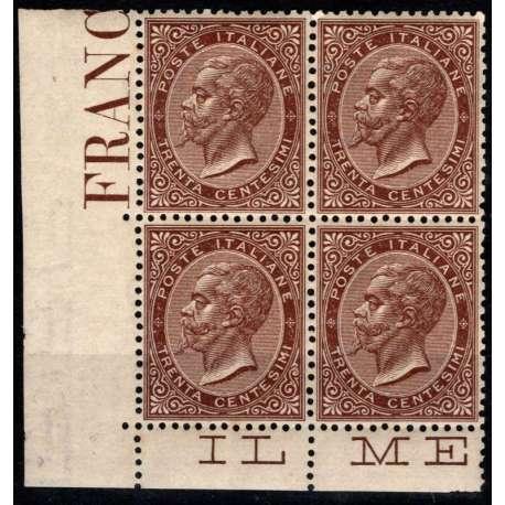 1863 REGNO D' ITALIA 30 c. BRUNO L19 LONDRA QUARTINA ANG. CERT. G.I. MNH** regno d' Italia francobolli filatelia stamps
