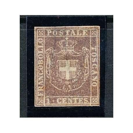 1860 TOSCANA 1 c. BRUNO (17) PERFETTO E CON BUONI MARGINI CERTIFICATO S.G. Toscana francobolli filatelia stamps