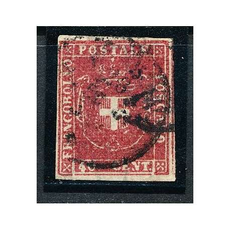 1860 TOSCANA 40 c. CARMINIO (21) FRESCO E BEN MARGINATO CON CERTIFICATO US. Toscana francobolli filatelia stamps