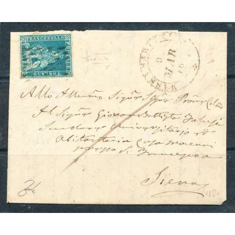 1854 TOSCANA 2 C. (5) SU BUSTA OTTIMI MARGINI ANNULLI DI PREGIO 2 CERTIFICATI US Toscana francobolli filatelia stamps