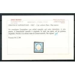 1862 PROVINCE NAPOLETANE 2 GR. CELESTE (20a) CON OTTIMI MARGINI CERTIFICATO G.O. Napoli francobolli filatelia stamps