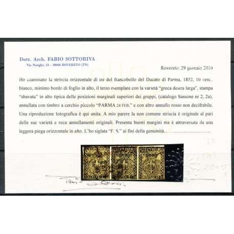 1852 PARMA 10 C. (2a) STRISCIA DI 3 LEGGERA PIEGA LEGGERE CERTIFICATO US. Modena e Parma francobolli filatelia stamps