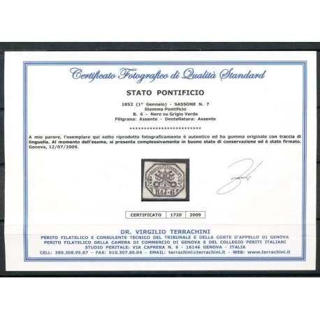 1852 PONTIFICIO 6 BAJ (7) INCHIOSTRO OLEOSO CERTIFICATO G.O. (MH) Stato Pontificio francobolli filatelia stamps